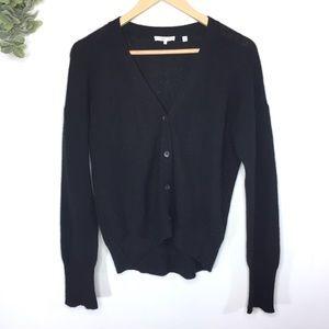 360 Cashmere Black Button Down Cardigan Large